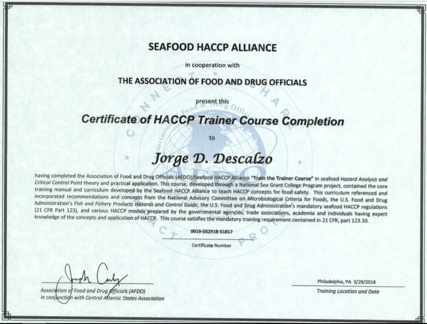 Seafood HACCP train the trainer